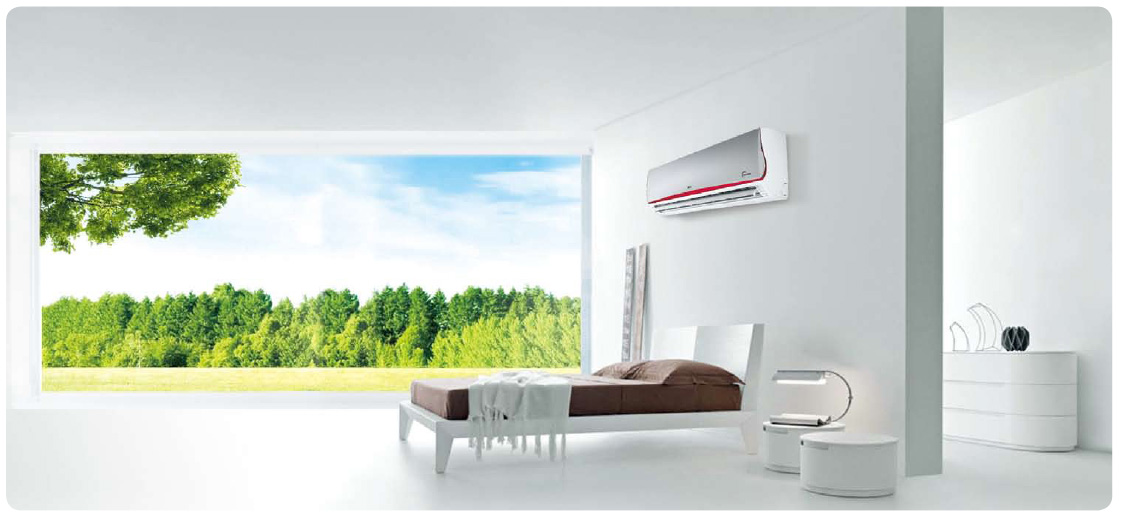 living room with air conditioning
